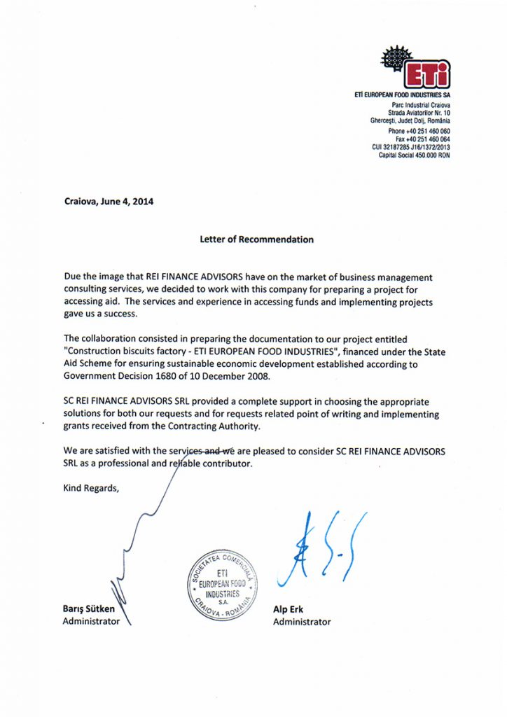 Letter of recommendation ETI